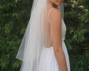 Karen, 2-Tier Cathedral Length Veil, Custom-Made Veil, Made-to-Order Veil, Fine Pencil Edge Veil, Long Veil with Blusher