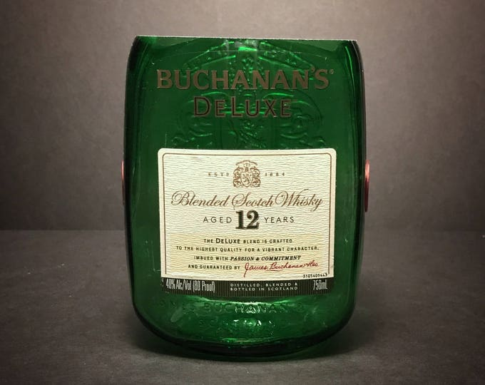 Recycled Buchanan's Scotch Whisky Bottle Candle