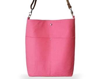 Coral Pink Linen Bucket Bag, Bright Hobo Bag, Shoulder Bag with Leather Strap, Tote Bag, Resort Tote, Day Bag, Linen Burlap Handbag