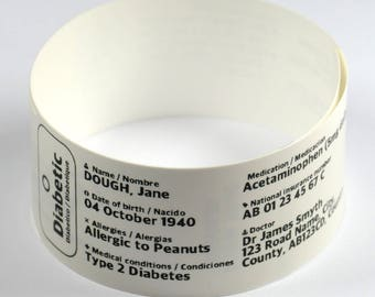 Medical Information Wristband 10 pack: Custom grade bracelet for Diabetic, Dementia, Alzhiemers, tag, jewellery