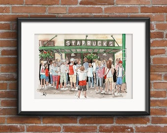 Coffee Shop Sketches of the Original Starbucks - the perfect print for any Coffee Lover