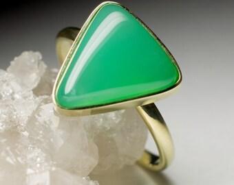 Chrysoprase Gold Ring art 7370   Amazing Natural Organic Green Chrysoprase Gemstone 14K Gold Ring Fine Jewelry