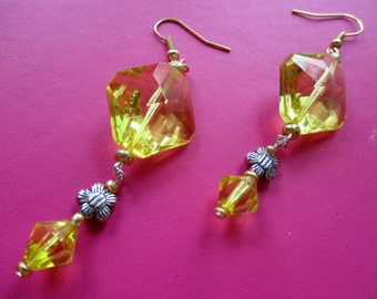 Big Yellow Crystal Diamond Faux Earrings with flower decoration