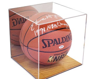 deluxe acrylic basketball display case with simulated wood floor and mirror a008 - Basketball Display Case