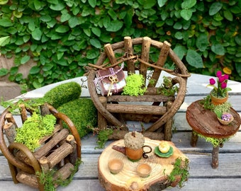 Fiary furniture set, miniature fairy tables and couch, fae furniture amd accessories