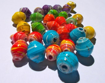 Omo Recycled Paper Beads - Fair Trade from Mzuribeads Uganda - Pack of 5 beads in Single Colours Size 1.5cm approx