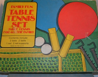 Vintage Table Tennis Set. Boxed. 70's Made in the G.D.R Family Fun. Game.