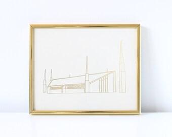 Boise Temple - Hand Drawn - REAL FOIL - Gold Foil Print - LDS - Illustration - Idaho - Mormon - Home Decor - Temple - Boise