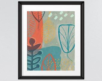 Mid Century Modern contrasting leaf art, Retro nature print 8x10 INSTANT DOWNLOAD