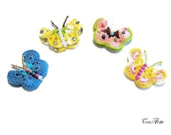 Set 4 colorful crochet butterfly appliques, Set 4 applicazioni farfalle colorate all'uncinetto