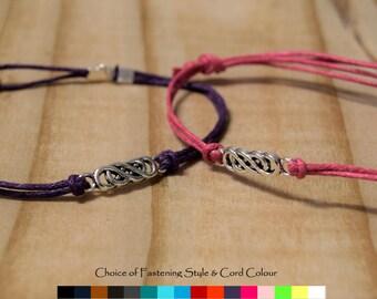 Double Infinity Bracelet (cord colour options) - Infinity bracelet - Double Infinity bracelet - Silver Infinity Bracelet - Cord bracelet