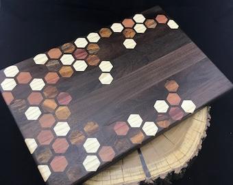 Large Exotic Honeycomb inlay Cutting board Pattern #2 - Walnut with Purpleheart, Mango, & Ash