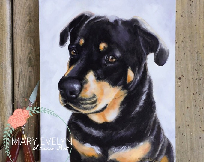 "Featured listing image: 11""x14"" Custom Oil Pet Portrait"