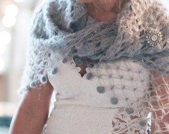 Gray Color Shawl,Wedding Shrug,Bridal Bolero,Crochet Shawl,Bridal Shawl,Wedding Cape,Winter Wedding Cover Ups,Fall Wedding Shawl,