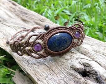 Lapis lazuri Amethyst micro macrame bracelet, boho gemstone micro macrame bracelet,Gift, 天然石 マクラメブレスレット
