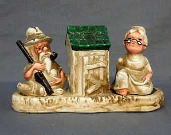 Vintage Hillbilly Salt and Pepper Shakers, Ma and Pa Collectibles, Outhouse Toothpick Holder, Hillbilly Figurine