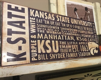 K State Wildcats Subway Style KSU Distressed Aged Wood Sign