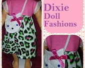 """Dixie-crafted Cat's Meow Dress designed to fit 18"""" Dolls including those from the American Girl Doll Clothes Company"""