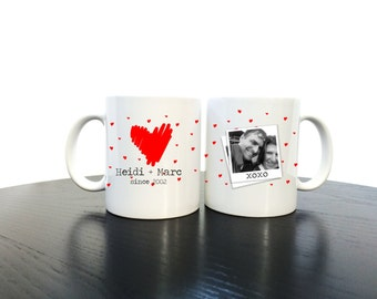 Valentine's Mug Personalised 'XOXO' Romantic Photograph Valentines Mug