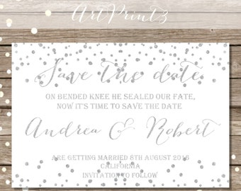 Save The Date Wedding Announcement Card Printable, Silver Confetti Save the Date Card, Save the Date Card Printable, Save the Date Card