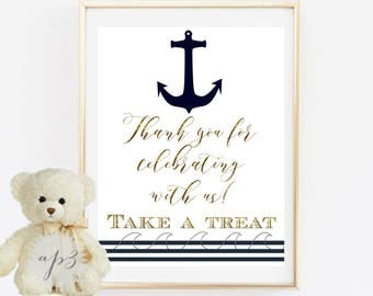 Thank You For Celebrating With Us Favors Sign Printable, Baby Shower Printable Sign, Nautical Baby Shower Sign, Anchor Baby Shower Decor