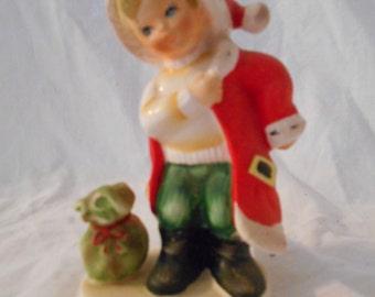 Vintage Lefton Month Series Christmas Santa Boy Figurine, Japan