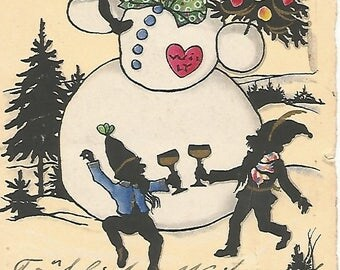 German Christmas Postcard 1910's, Herzlichen Gluckqusch Snowman, Elves