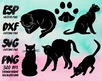 Cats Silhouette , SVG Cutting , ESP Vectors files , T shirt , iron on , sticker ,Personal Use