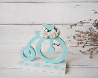 Wooden decor bicycle gifts Blue bicycle  with flowers Wedding décor Spring décor Easter decoration Cottage chic décor Provence décor