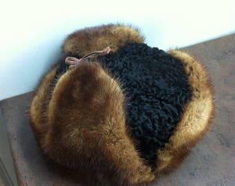 Vintage Trapper Hat - Persian Lambs Wool with Mink Fur Trim - Winter Hat