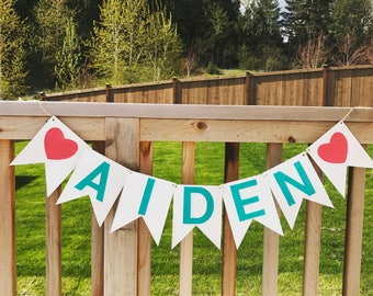 Custom Banner,Bithday Banner, Bithday Garland, Bithday Decorations, Green and White Banner, Customizable