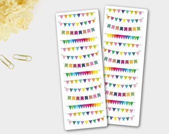 Bright Banner Bunting Stickers for  Erin Condren Life Planer, Happy Planner and other planner