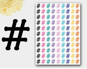 Hashtag Stickers, Hashtag Planners, Social Media Stickers, Social Media Planner, Sharp Symbol