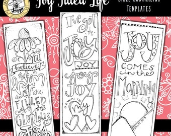 """Soul Inspired - Bible Journaling Template / Color your own bookmarks - """"Joy Filled Life"""" - digital download"""