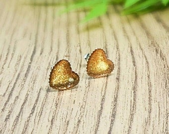 Heart post earrings, love heart earrings, amber heart earrings, romantic gift, earrings UK, resin heart studs, silver post earrings