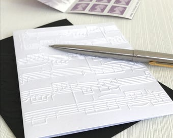 SHEET MUSIC - Set of 6 Embossed Cards (No.49) - Pack of 6 White Blank Cards Perfect for a Musician or Music Teacher