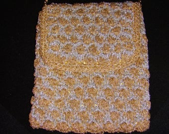VINTAGE WALBORG Gold & Silver Woven Evening Bag - made in Italy