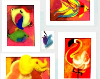 3D Nursery Wool Pictures, Needle Felted Art.