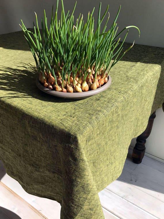 Linen Tablecloth In Lemon Green/Yellow, Green Tablecloth, Yellow Tablecloth,  Green Linen Tablecloth, Rectangle Tablecloth, Custom Tablecloth