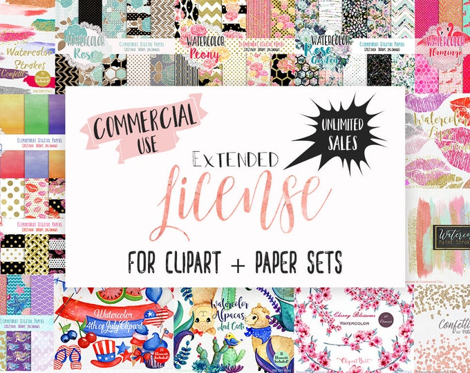 Extended License for Commercial Use Clipart & Digital Paper Sets - Clipartbrat Graphics Commercial License Unlimited Sales Digital or Print
