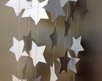 White Star garland, Birthday Party Decoration, Paper Garland,  Wedding Garland. 12' long star garland.