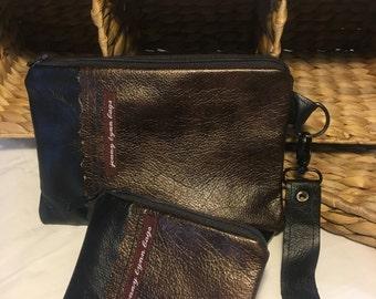 Black and bronze leather wristlet set