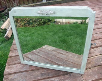 VINTAGE GREEN  framed mirror,country cottage style frame with beveled mirror,molding decoration,up-cycled wood frame mirror,wall miror