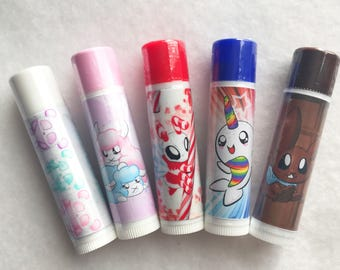 Candy Lip Balm 5 Pack, pack of 5 lip balms lip balm pack candy flavored lip balm variety pack lip balm grab bag