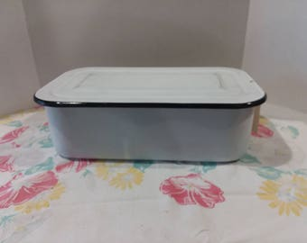 Mid Century White Enamelware Covered Pan with Black Edge