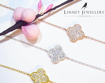 Clover Bracelet Cz 925 Silver Yellow Rose Gold
