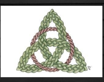 Celtic Trinity Knot Triquetra Art Signed Print