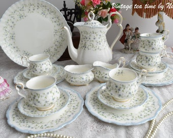 Royal Albert tea set vintage floral tea set Royal Albert Caroline England tea cup set english porcelain bone china tea cup set for five