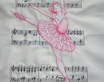 Machine Embroidered Quilt Block - Sugar Plum Fairy - Ballerina