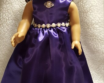 Purple Evening Gown with Faux Pearl Trim